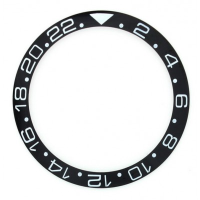 BLACK WITH WHITE NUMBERS CERAMIC BEZEL FOR GMT II MASTER WATCH