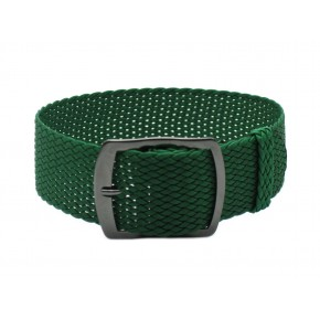 HNS 22MM Green Perlon Tropic Braided Woven Strap With PVD Coated Stainless Steel Buckle