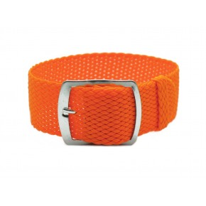 HNS 22MM Orange Perlon Tropic Braided Woven Strap With Brushed Stainless Steel Buckle