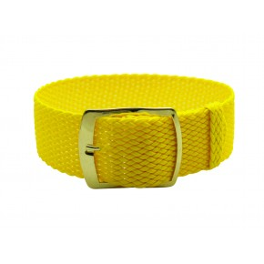 HNS 22MM Yellow Perlon Tropic Braided Woven Watch Strap With Gold Brushed Adjustable Buckle