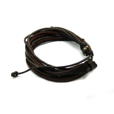 Brown leather bunch with braided leather bracelet
