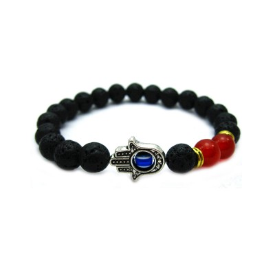 Lava Stone Hamsa Bracelet Antique Silver Hamsa Blue Evil Eye Jewelry Men Bracelet