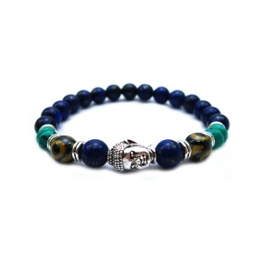 Lapiz lazuli stone beads Jewelry Sets Silver Buddha Men Black Yoga Bracelet