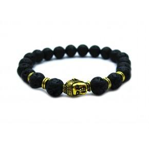 Jewelry Black Lava Energy  Stone beads Gold Buddha Men Black Bracelet