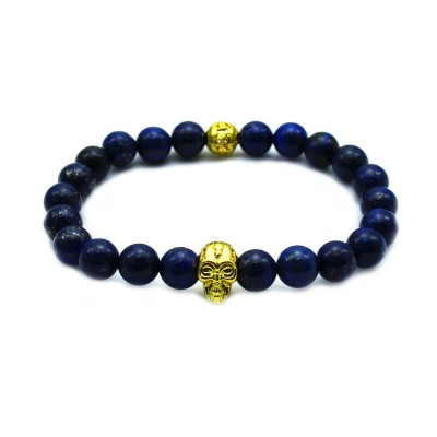 Blue Stone Beaded New Design Yoga Gold Skull Men's Bracelet