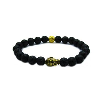 Beaded Energy Lava Stone Antique Golden Buddha Men's Bracelet