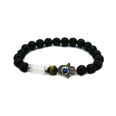 Beaded Lava Stone/Dzi Bead &Natural Pink Square Stone  Stretch Hamsa Fatima hand Protection Men's Bracelet