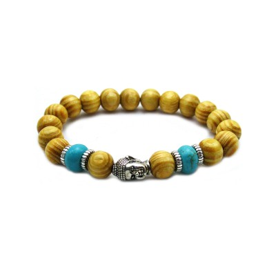 Beaded Buddha Meditation Wood Men's Bracelet