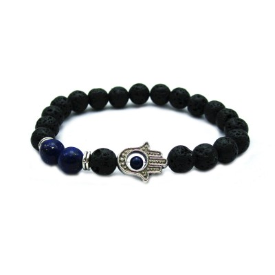Lapis Lazuli Lava Stone Hamsa Protection Men's Bracelet