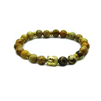 Jasper Stone beaded Gold Buddha Stretch Yoga Men's Bracelet