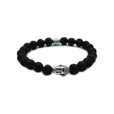 Beaded Energy Lava Stone Antique Silver Buddha Men's Bracelet