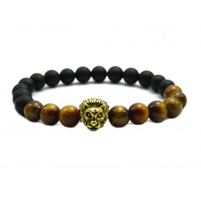 Natural Tiger Eye and Matte Agate Stone Beads Gold Liao Head Bracelet