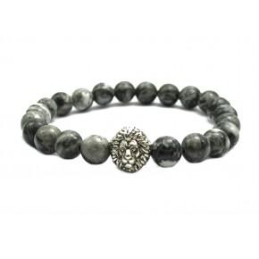 Grey Veined Picture Jasper Stone Lion Head Bracelet