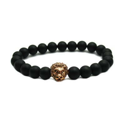 Matte Agate Stone Beads Antique Rose Gold Liao Head Bracelet
