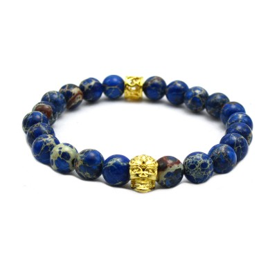 Blue Sea Sediment Stone Bead with Bronze Gold Skull Bracelet