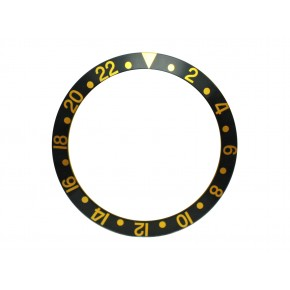 New High Quality Black with Gold numbers Bezel Insert For Rolex GMT Master I/II  & Submariner Watch
