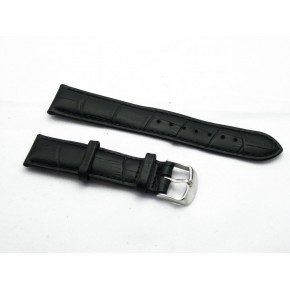 HNS 20MM GENUINE BLACK LEATHER CROCO WATCH BAND WITH BLACK LINE