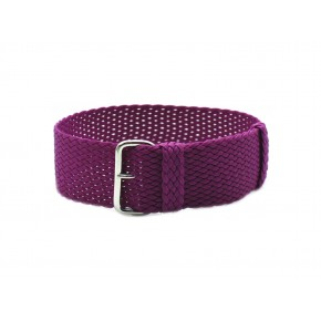 HNS Purple Perlon Tropic Braided Woven Strap With Brushed Stainless Steel Buckle