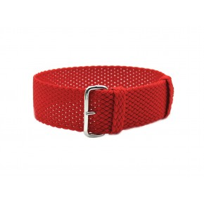HNS Red Perlon Tropic Braided Woven Strap With Brushed Stainless Steel Buckle
