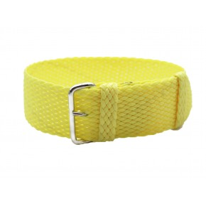 HNS Light Yellow Perlon Tropic Braided Woven Strap With Brushed Stainless Steel Buckle