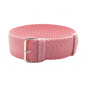 HNS Pink Perlon Nato Tropic Braided Woven Watch Strap With Brushed Stainless Steel Buckle