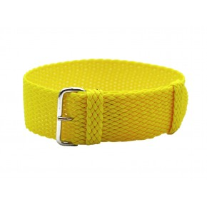 HNS Yellow Perlon Tropic Braided Woven Strap With Brushed Stainless Steel Buckle