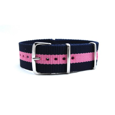 HNS Navy Blue & Pink Strip Heavy Duty Ballistic Nylon Watch Strap With Polished Stainless Steel Buckle