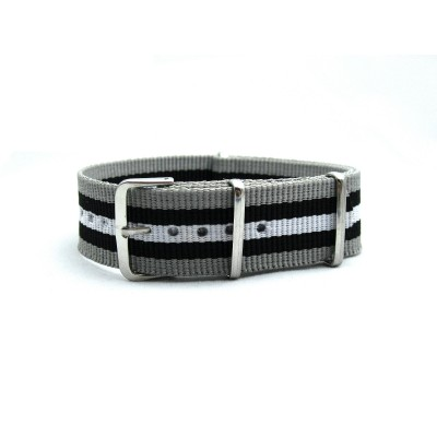HNS Grey & Black & White Strip Heavy Duty Ballistic Nylon Watch Strap With Polished Stainless Steel Buckle