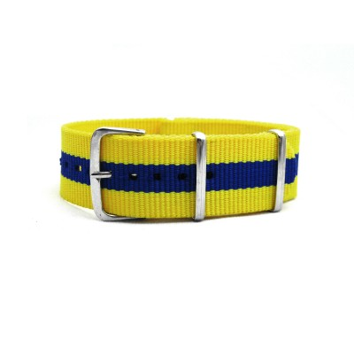 HNS Sweden Flag Yellow & Blue Strip Heavy Duty Ballistic Nylon Watch Strap With Polished Stainless Steel Buckle