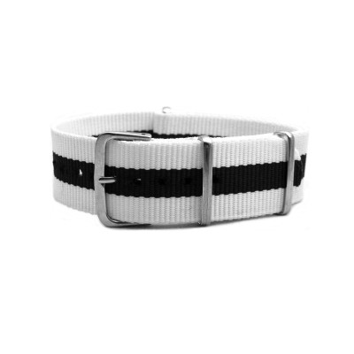 HNS White & Navy Blue Strip Heavy Duty Ballistic Nylon Watch Strap With Polished Stainless Steel Buckle