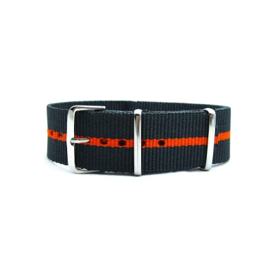 HNS Dark Grey & Orange Strip Heavy Duty Ballistic Nylon Watch Strap With Polished Stainless Steel Buckle