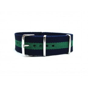 HNS Navy Blue & Green Strip Heavy Duty Ballistic Nylon Watch Strap With Polished Stainless Steel Buckle