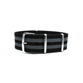 HNS Bond 007 Black & Grey Strip Heavy Duty Ballistic Nylon Watch Strap With Polished Stainless Steel Buckle