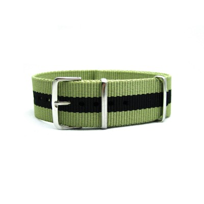 HNS Dark Khaki & Black Strip Heavy Duty Ballistic Nylon  Watch Strap With Polished Stainless Steel Buckle