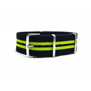 HNS Navy & Yellow Strip Heavy Duty Ballistic Nylon Watch Strap With Polished Stainless Steel Buckle