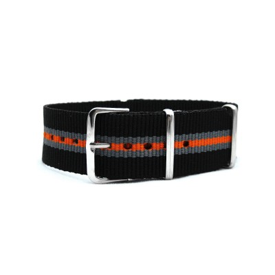 HNS Black & Grey & Orange Strip Heavy Duty Ballistic Nylon Watch Strap With Polished Stainless Steel Buckle
