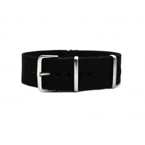 HNS Black Heavy Duty Ballistic Nylon Watch Strap With Polished Stainless Steel Buckle