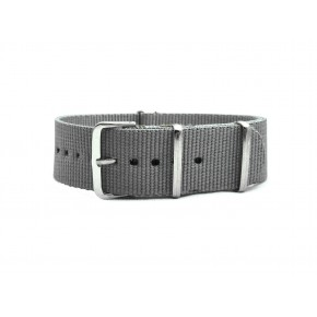 HNS Grey Heavy Duty Ballistic Nylon Watch Strap With Polished Stainless Steel Buckle