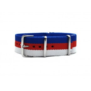 HNS Blue & Red & White Strip Heavy Duty Ballistic Nylon Watch Strap With Polished Stainless Steel Buckle
