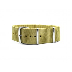 HNS Khaki Heavy Duty Ballistic Nylon Watch Strap With Polished Stainless Steel Buckle