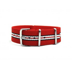 HNS Red Navy White Red Strip Heavy Duty Ballistic Nylon Watch Strap With Polished Stainless Steel Buckle