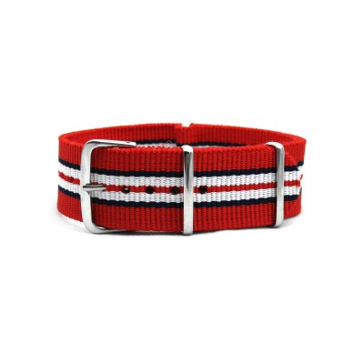 HNS Red Black White Red Strip Heavy Duty Ballistic Nylon Watch Strap With Polished Stainless Steel Buckle