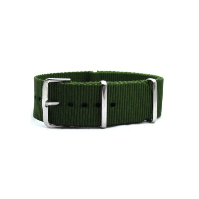 HNS Olive Drab  Heavy Duty Ballistic Nylon Watch Strap With Polished Stainless Steel Buckle