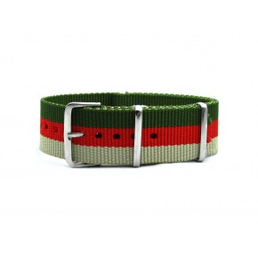 HNS Olive & Red &  Khaki Strip Heavy Duty Ballistic Nylon Watch Strap With Polished Stainless Steel Buckle