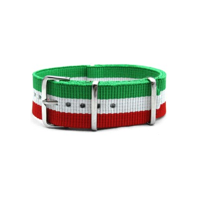 HNS Italy Flag Green & White & Red Strip Heavy Duty Ballistic Nylon Watch Strap With Polished Stainless Steel Buckle