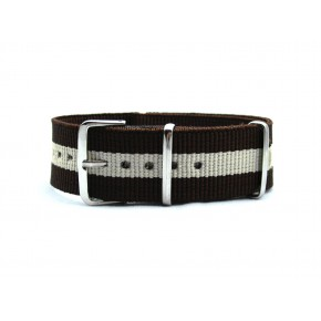HNS Brown & Beige Strip Heavy Duty Ballistic Nylon Watch Strap With Polished Stainless Steel Buckle