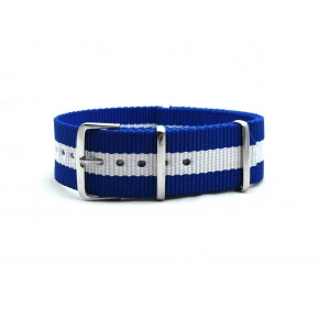 HNS Blue & White Strip Heavy Duty Ballistic Nylon Watch Strap With Polished Stainless Steel Buckle
