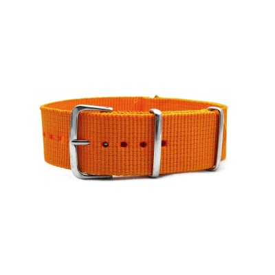 HNS Dark Orange Heavy Duty Ballistic Nylon Watch Strap With Polished Stainless Steel Buckle