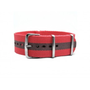 HNS Pink & Peru Strip Heavy Duty Ballistic Nylon Watch Strap With Polished Stainless Steel Buckle