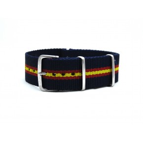 HNS Navy & Red & Yellow Strip Heavy Duty Ballistic Nylon Watch Strap With Polished Stainless Steel Buckle